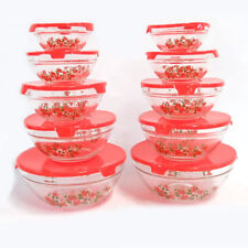 Nested Glass Bowls Set With Poinsettia Design and Red Lids - 20 Pcs