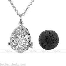 Clasp Copper Hollow Aromatherapy Silver Teardrop Pendant Necklace Oil Lava Rock
