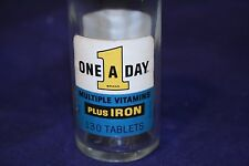 One A Day Multiple Vitamins Vintage Glass Bottle 130 Tablets With Glass Stopper