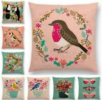 Cotton Linen Bird Style Pillow Case Sofa Waist Throw Cushion Cover Home Decor