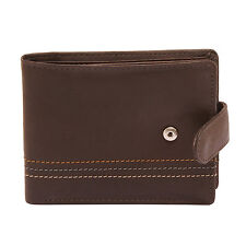 Sophos - Brown Leather Tab Wallet with Colour Stitch in Presentation Gift Box