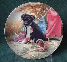 1987 GERMAN SHEPHERD PUPPY DOG PLATE Hanging  Out  Jim Lamb River Shore