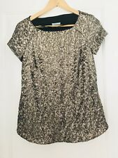 KOOKAI WOMENS  TOP EMBELLISHED Sequins GOLD LINED PARTY Short Sleeve SZ 34