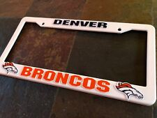 1 Denver Broncos - White Plastic License Plate Frame - Nice Raised 3D Graphics