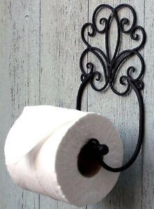 Metal Toilet Loo Roll Holder Black Scroll Design Wall Mounted