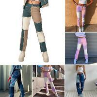 2020 Women Patchwork High Waist Belt Slim Jeans Straight Denim Pencil Pants