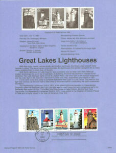GREAT LAKES LIGHTHOUSES 5 STAMP BOOKLET 1995 Sc#2969 USPS FD Souvenir Page