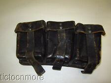 Wwii German K98 Black Leather Riveted Ammo Pouch Rbn Numbered
