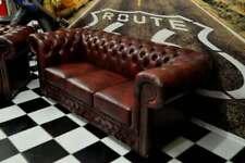Chesterfield Oxblood gefaltet 3 Sitz Sofa Leder glatt gefaltet