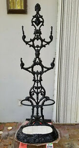 LARGE ANTIQUE c. 1890's WROUGHT IRON CAST IRON HALL TREE COAT STAND ~ 69""