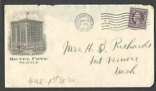 1918 COVER SEATTLE WA HOTEL FRYE MISSING BACK FLAP