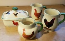 Heron Cross Pottery Stoke on Trent Roosters Set of 4 jugs and small Pot Mug RARE