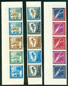 MONACO 1968 Olympic Games Mexico 7 imperforated strips of 5 colorproofs MNH