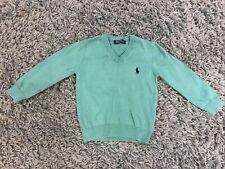 Boys Ralph Lauren V Neck Knitted Jumper Age 1-2 Years Green
