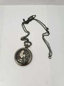 Disney Little Mermaid ARIEL Pewter Tone Pocket Watch with Chain.New Battery