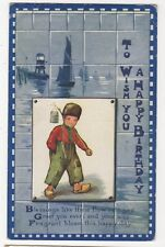 Dutch Boy Birthday Greetings 1916 Postcard Children 882b