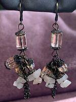"Ladies Brass Tone Rose quartz stone Ab Glass Beaded Drop  Pierced Earrings 2.5"""