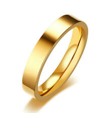 Stainless Steel Band 4Mm Size 6-9 Fashion Women Gold Plating Wedding Ring