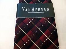Van Heusen 100% Silk Tie Hand Made Mens Dark Red Stain Resistant - NEW