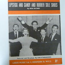 song sheet LIPSTICK AND CANDY AND RUBBER SOLE SHOES, The Stargazers 1956
