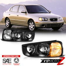 "Fit 2001-2003 Hyundai Elantra ""FACTORY STYLE"" Black Headlights Lamp Assembly SET"