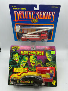 Road Champs Horror Hearse & Deluxe Series Aerial Laddert Fire Engine Truck Lot