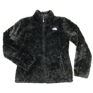 The North Face Mossbud Swirl Reversible Jacket Womens Small Black Sherpa Fleece