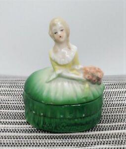 Vintage Porcelain Green Victorian Lady Trinket/Pill Box, # 4011 Germany