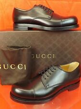 NIB GUCCI BLACK SMOOTH LEATHER CAP TOE GOODYEAR LACE UP CLASSIC OXFORDS 10 11