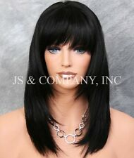 100% HUMAN HAIR NEW STRAIGHT Black WIG with  Bangs IHGP 1