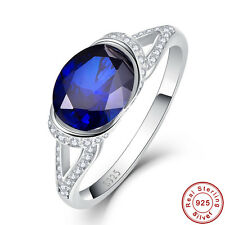 2CT Oval Cut Sapphire 100% 925 Sterling Silver Gemstone Ring Size L½ N½ P½ R½