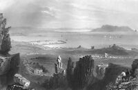 Ireland DUBLIN BAY HOWTH HEAD BULL ISLAND SAILBOATS ~ 1839 Art Print Engraving