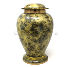 Large Yellow Brass Metal Large Funeral urn for Cremation Adult Ashes USA