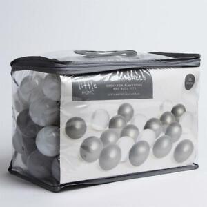 Children  Kids 100 Plastic Play Balls for Ball Pits Play Room Grey & White 6cm