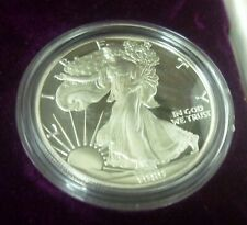 United States Silver Eagle 1989 Silver $1 Proof .999 - C/W Velvet Casing.