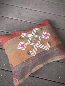 "Kilim Pillow Cover-Vintage Turkish Kilim Rug Sawan 17x14"" Throw Accent Pillow"
