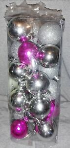 24 Silver And Pink Christmas Baubles