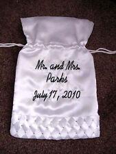 "Personalized 10"" Satin Bridal Wedding Money Bag Drawstring Pearl or Rhinestone"