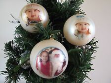 Christmas Baubles Personalised - Your Photo And Text - Christmas
