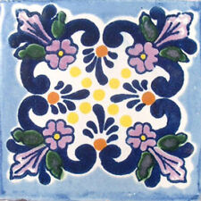 #C008) Set With Nine Mexican Tiles Ceramic Clay Handmade Mexico Talavera Tile