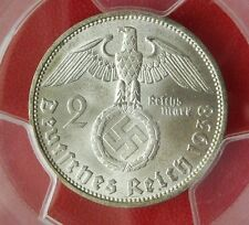 PCGS MS-63 NAZI SWASTIKA 1938-D 2 ReichsMark SILVER COIN-Germany 3rd-REICH MINT!