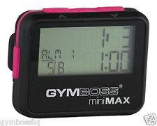 Gymboss Minimax INTERVAL temporizador y cronómetro Negro Rosa softcoat enviados desde el Reino Unido