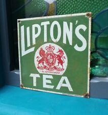 Liptons Tea enamel sign old shop sign old porcelain sign shop Lipton's Tea