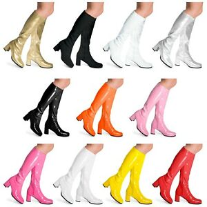 Womens Ladies Mens Knee High Disco GoGo 60's 70's Party Fancydress Boots
