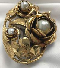 Vintage Gold Tone Brooch Pin Flowers Shamrocks Faux Pearls On Vines 2.25 Inch