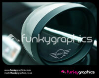 MINI NEW STYLE LOGO MIRROR DECALS STICKERS GRAPHICS x 3 IN SILVER ETCH VINYL