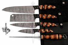 Wp-Knives Custom Handmade Damascus Steel Splendid Kitchen Set Knives Lots of 5
