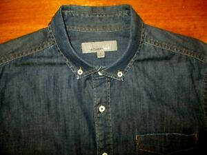 WITCHERY MENS DESIGNER TOP QUALITY  DENIM LONG SLEEVE  SHIRT LARGE    EXC COND