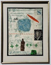 JAMES COIGNARD Pencil SIGNED Color ETCHING Carborundum GRAUVRE w/ COLLAGE