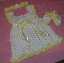 HANDMADE CROCHET BABY DRESS. SHOES ,HEADBAND- Yellow   by ROCKY MOUNTAIN MARTY
